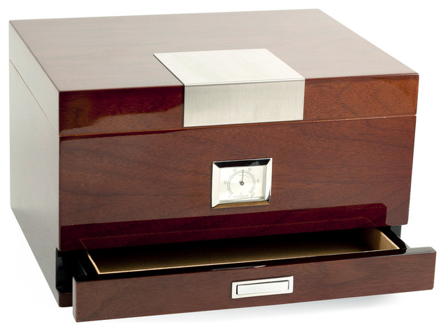 "Lacquered ""Walnut"" Wood 60 Cigar Humidor - Traditional - Decorative Boxes - by Bey-Berk ..."