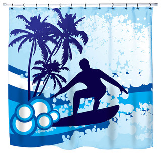 "Eco Friendly ""Surf's Up"" Beach Themed Shower Curtain - Beach Style ..."