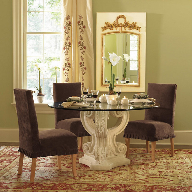 Triple acanthus base with 48 inch diam glass top for Traditional dining table bases
