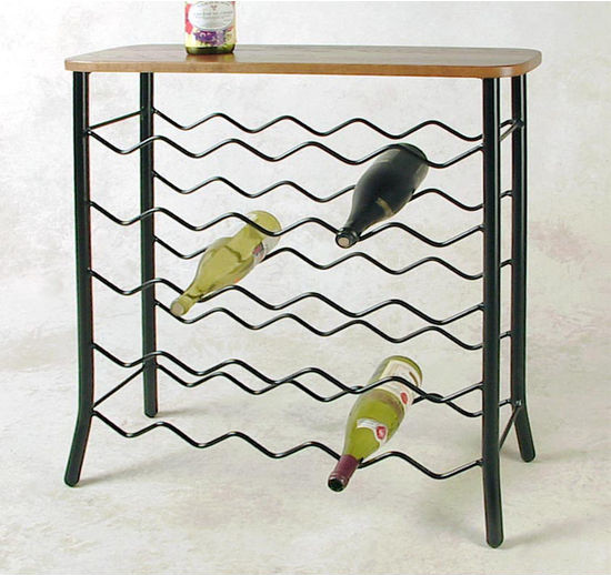 25 Bottle Wrought Iron Wine Rack With Server Console - Transitional - Wine Racks - by Pot Racks Plus