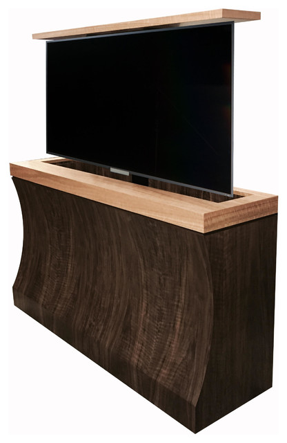 Bayside tv lift cabinet with figured walnut and anigre set for Anigre kitchen cabinets