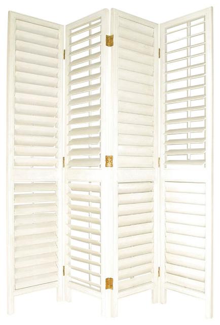 Wayborn venetian room divider in whitewash beach style for Stylish room dividers