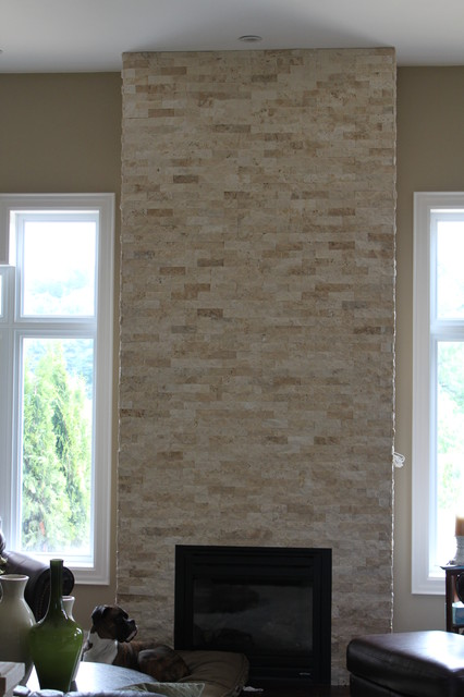 Fireplace With Natural Stone Contemporary Indoor