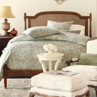 Low Profile Louis Wood Bed Traditional Beds By