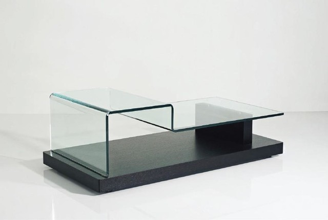 Vig Modrest Slope Modern Glass Coffee Table In Black Contemporary Coffee Tables By