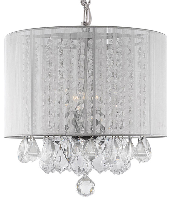 Crystal chandelier with white drum shade chandeliers by gallery - White chandelier with shades ...