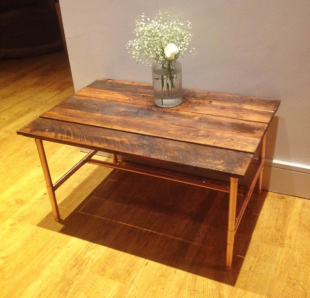 Industrial Coffee Table Handmade From Copper And Reclaimed Wood