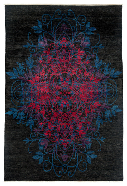 Suzani Wool Area Rug, Black, 6x9 - Transitional - Area Rugs - by Solo ...