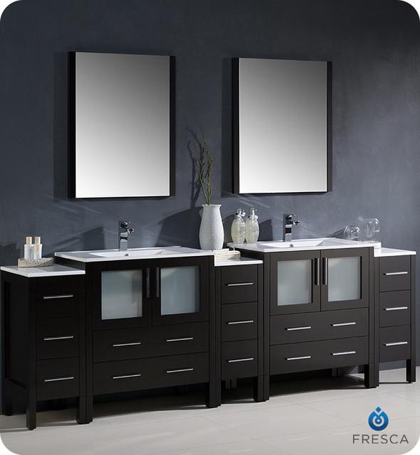 Fresca Torino 96 39 Espresso Modern Double Sink Bathroom Vanity With 3 Side Modern Bathroom