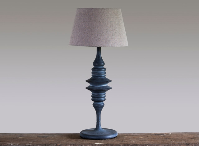 Blue Isle Grey Weathered Tall Metal Lamp And Shade