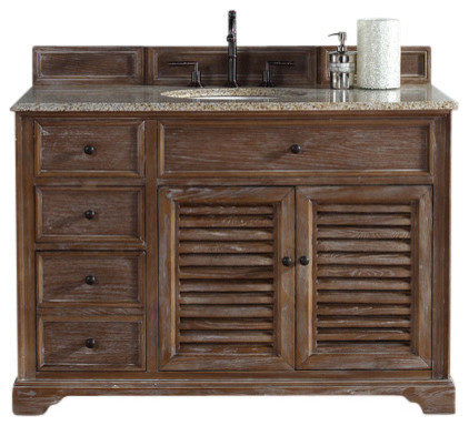 Savannah 48 single vanity cabinet driftwood no top beach style bathroom vanities and sink for Savannah bathroom accessories