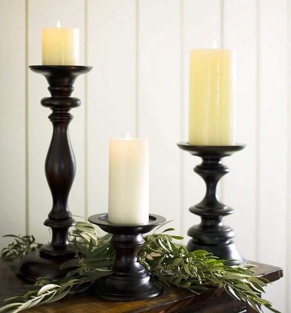 Turned wood pillar holders traditional by pottery barn for Kitchen cabinets lowes with black candle holder set