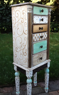 Jewelry Armoire Painted Scrolls - Jewelry Armoires - San ...