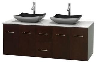 Centra 60 Espresso DBL Vanity Carrera Marble Top Altair Sinks No Mrr