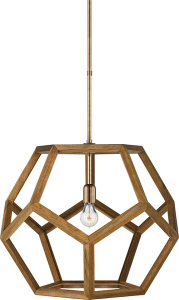 Handmade Wood Carambola Shade Pendant Lighting Large