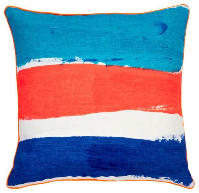 ORANGE, BLUE, AND NAVY STRIPE NAUTICAL PILLOW - Beach Style - Decorative Pillows - other metro ...