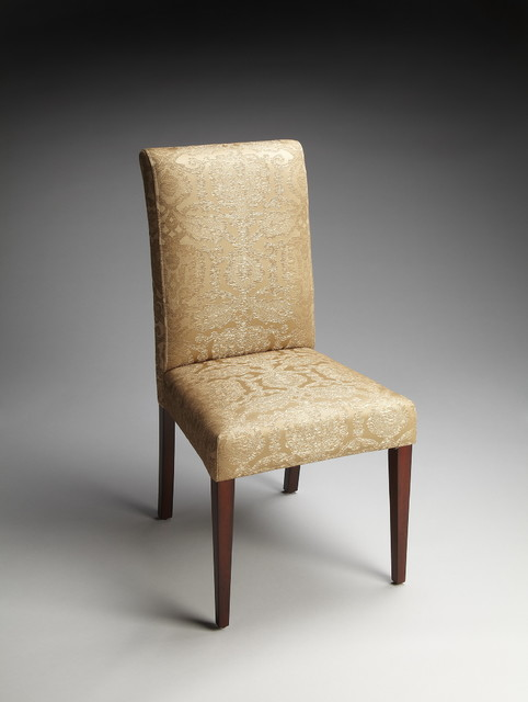 Gold Damask Fabric Parsons Chair Traditional Dining  : traditional dining chairs from www.houzz.com size 482 x 640 jpeg 39kB