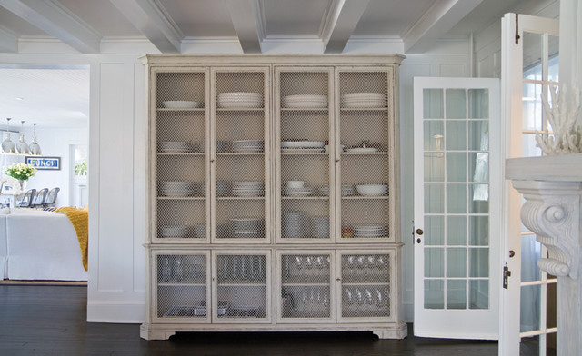 Vintage Wire-Window Cupboard/China Cabinet - Beach Style - Dining Room - New York - by Chango & Co.