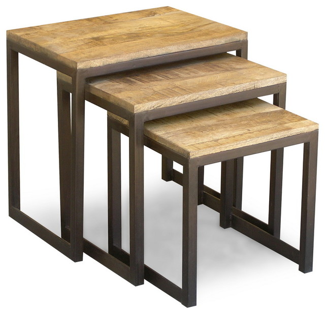 Reclaimed wood and iron nesting tables eclectic side
