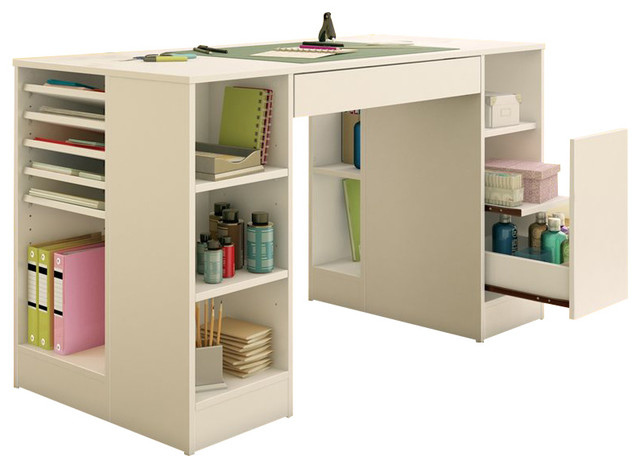 South shore crea craft table in pure white transitional for Craft desk with storage