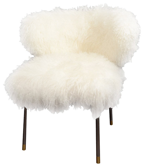 Custom Mongolian Lamb Chair Eclectic Armchairs And