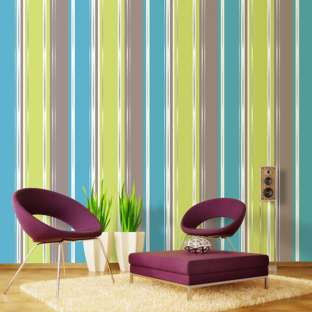 Coloroll Salsa Stripe Wallpaper Lime Chocolate Contemporary Wallpaper By
