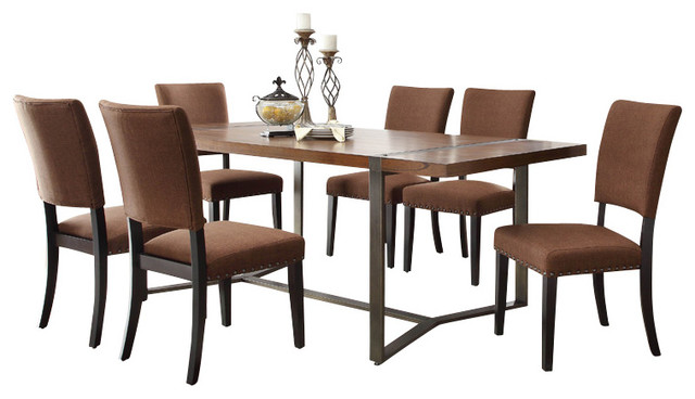 piece rectangular dining room set in natural brown dining sets