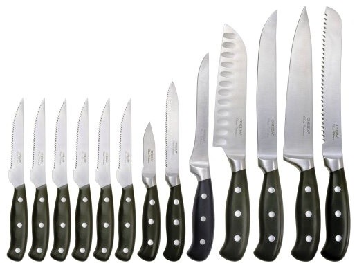 oneida 14pc knife block set modern knife sets oneida cutlery 14 piece classic triple rivet pistol handle