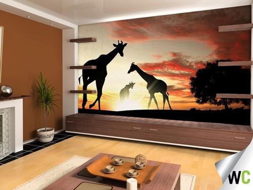 Giraffes at Sunset Wall Mural