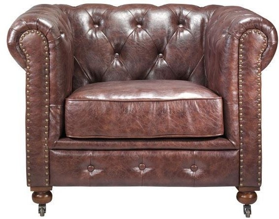 Gordon Tufted Leather Leather Chair 32hx42 5w Brown Leather Chair Traditional Sofas