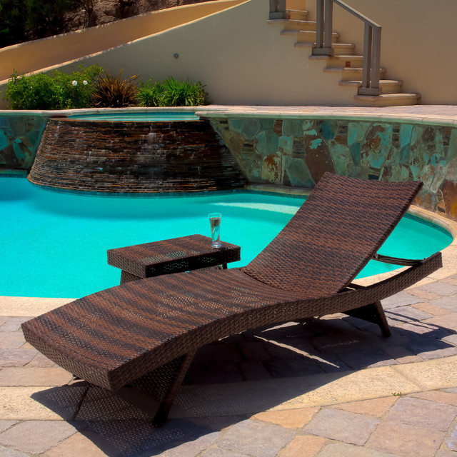 Christopher knight home outdoor brown wicker adjustable for Brown chaise lounge outdoor