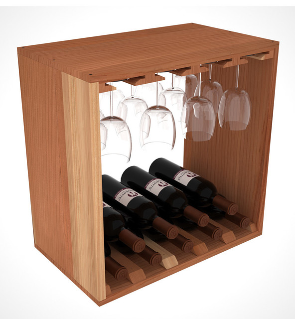 """Stemware + Wine Cube Holds Glasses And Bottles, 12"""" Deep, Unfinished Redwood - Contemporary ..."""