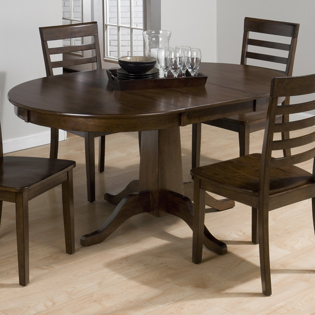 jofran 342 60 taylor cherry round to oval pedestal dining table contemporary dining tables. Black Bedroom Furniture Sets. Home Design Ideas