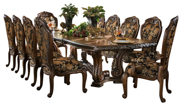 Oppulente 9 Piece Rectangular Dining Table Set With China
