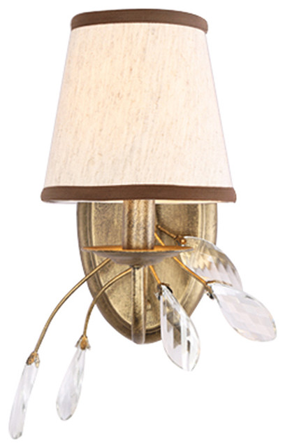 Modern Brown Iron Wall Sconce with Fabric Shade and Crystal Pendants traditional-wall-sconces
