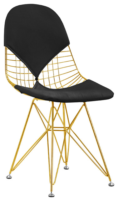 wire mesh side chair gold finish black seat cushions midcentury armchairs accent chairs. Black Bedroom Furniture Sets. Home Design Ideas