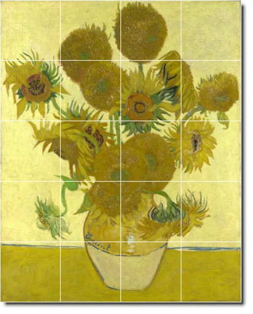 Vincent van gogh flowers painting ceramic tile mural 272 for Ceramic mural painting