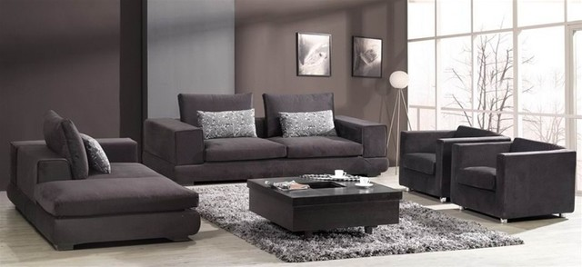 Barnile 4 pieced microfiber sofa set modern living for Contemporary living room furniture sets