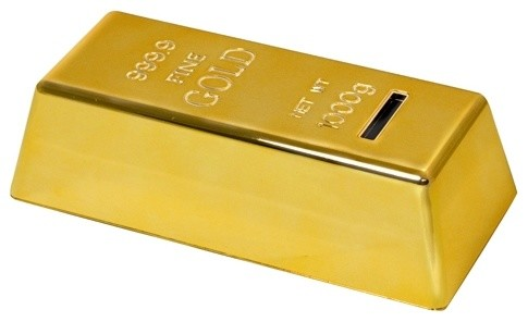 6 1/2 Inch Shiny Gold Bar Design Coin Bank with Non Slip ...