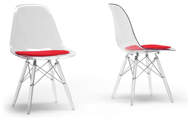 Baxton Studio Maisie Clear Plastic Mid Century Modern Shell Chair Midcentur