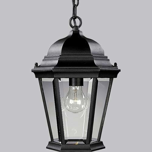 Traditional Outdoor Pendant Lighting : P welbourne textured black one light outdoor