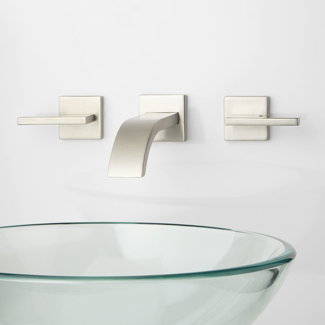 Ultra Wall Mount Bathroom Faucet Lever Handles Modern