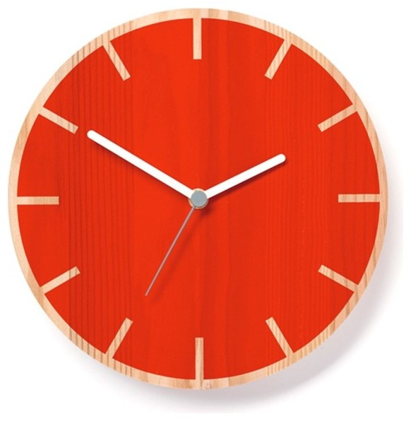 primary clock cog   red   contemporary   wall clocks   by