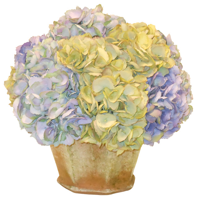 Hydrangea in garden pot traditional artificial flower for Artificial bees for decoration