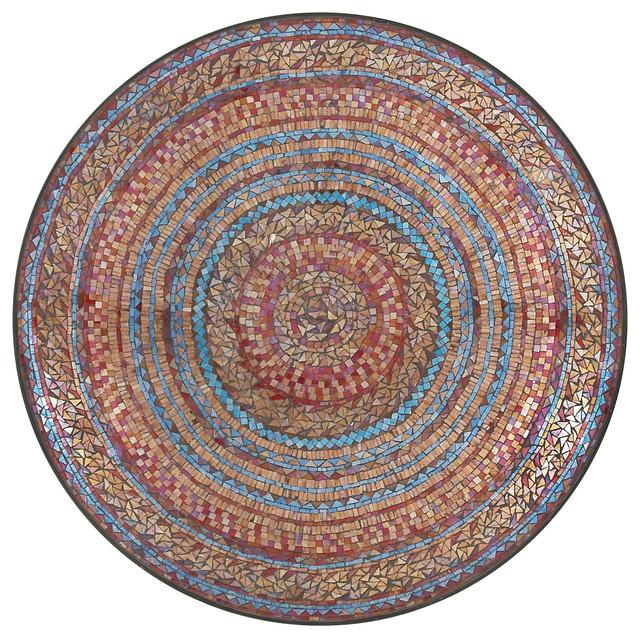 Stunning Metal Red Mosaic Wall Platter Mediterranean