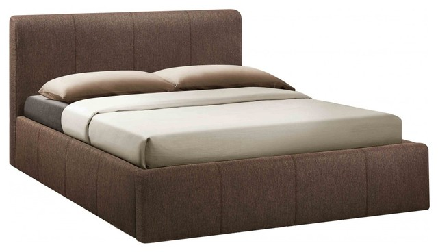 Bonsoni Stylish Upholstered Small Double Brooklyn Ottoman Fabric Bed Frame Choco Contemporary