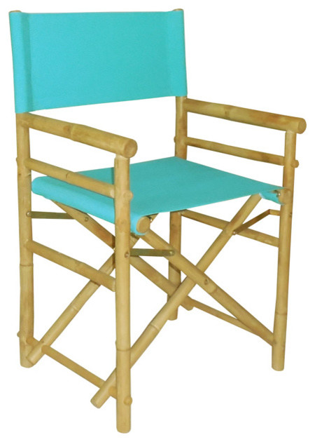 Aqua bamboo director chair set of two contemporary dining chairs