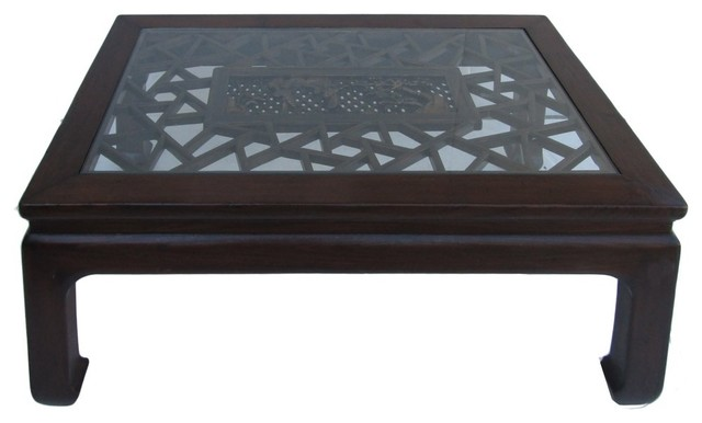 Chinese Rectangular Carved Panel Glass Coffee Table Asian Coffee Tables By Golden Lotus