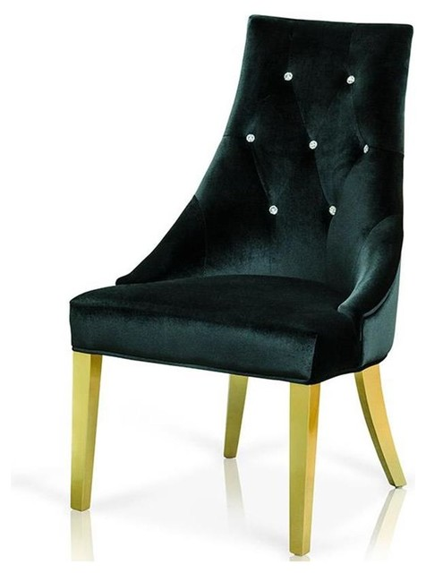 Vig A Amp X Charlotte Black Velour With Legs Dining Chair In