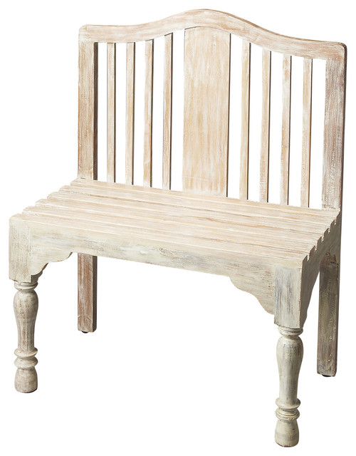 Roseland White Solid Wood Bench Traditional Accent Storage Benches